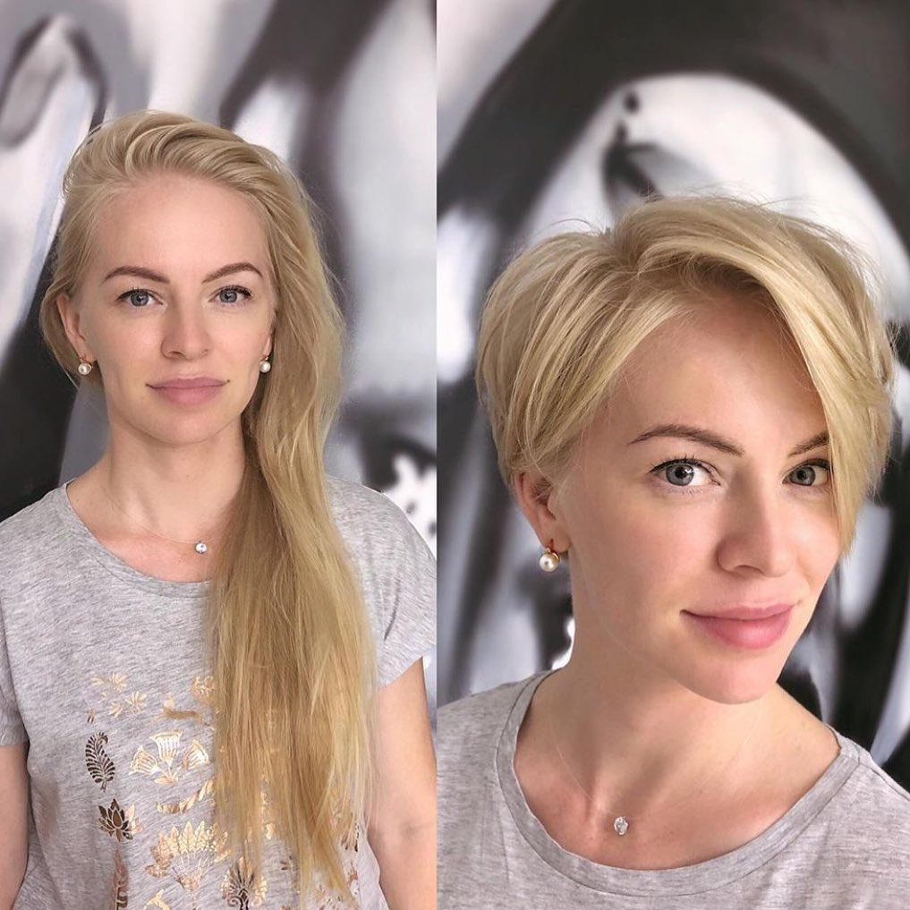 Коротко подстриглась фото до и после